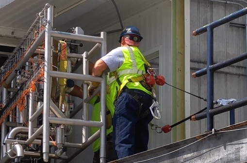 Process Construction man working safely on scaffold